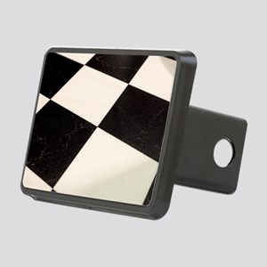 Black & White Checkered Fl Rectangular Hitch Cover