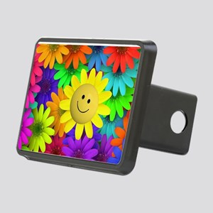 Colorful Art of Flower Rectangular Hitch Cover