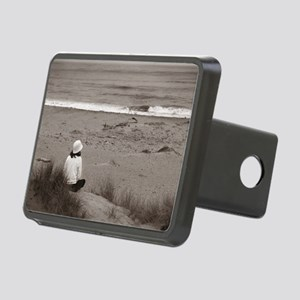 Watching The Ocean (bw) Rectangular Hitch Cover