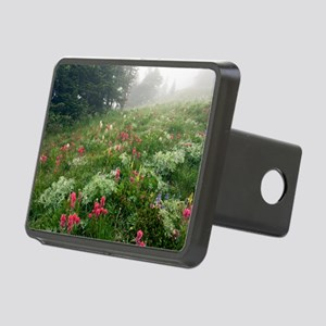 Mountain meadow in the mis Rectangular Hitch Cover
