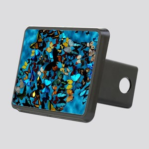 Butterflies Blue Rectangular Hitch Cover