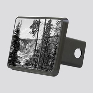 Yellowstone Falls Black an Rectangular Hitch Cover
