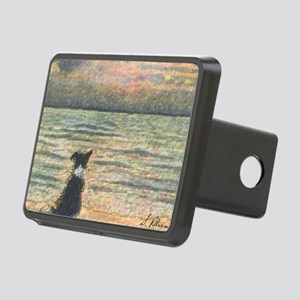 A Border Collie dog says h Rectangular Hitch Cover