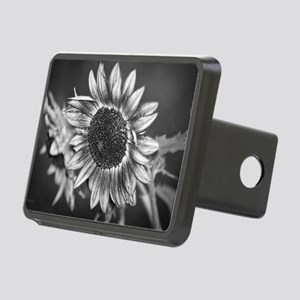 Black and White Sunflower Rectangular Hitch Cover