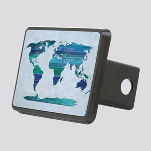 World Map Rectangular Hitch Cover