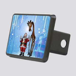 Santa Claus with funny giraffe Hitch Cover