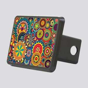 Colorful Floral Pattern Rectangular Hitch Cover