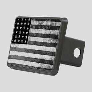 American Vintage Flag Blac Rectangular Hitch Cover