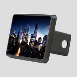 City Skyline at Night Rectangular Hitch Cover