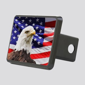 Patriotic Red White and Bl Rectangular Hitch Cover