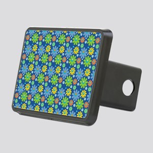 Blue Retro Flowers Beach Rectangular Hitch Cover