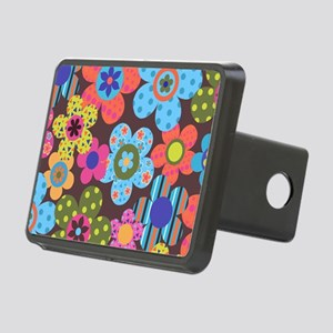 Retro Flowers Bags Rectangular Hitch Cover