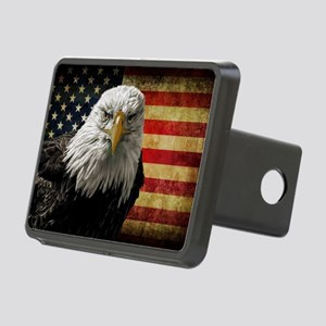 Bald Eagle and Flag Rectangular Hitch Cover
