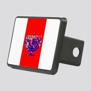 Red Vibrant Menorah Hanukk Rectangular Hitch Cover
