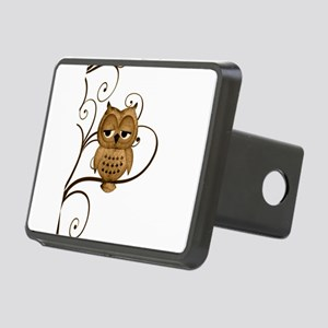 Brown Swirly Tree Owl Rectangular Hitch Cover