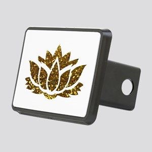Gold Glitter Lotus Rectangular Hitch Cover