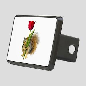 Squirrel Red Tulip Rectangular Hitch Cover