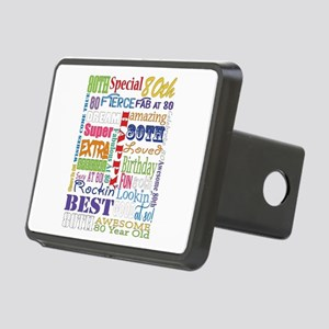 80th Birthday Typography Rectangular Hitch Cover