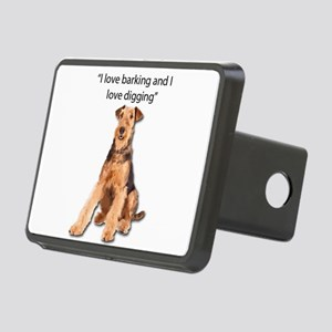 Airedales love barking and Rectangular Hitch Cover