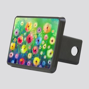 Watercolor Flowers Rectangular Hitch Cover