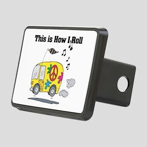 3-hippie bus Rectangular Hitch Cover