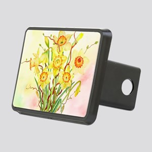 Watercolor Daffodils Yello Rectangular Hitch Cover