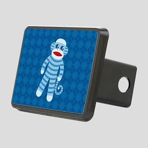 Blue Sock Monkey Rectangular Hitch Cover