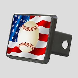 Baseball Ball On American Flag Hitch Cover