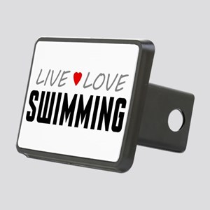 Live Love Swimming Rectangular Hitch Cover