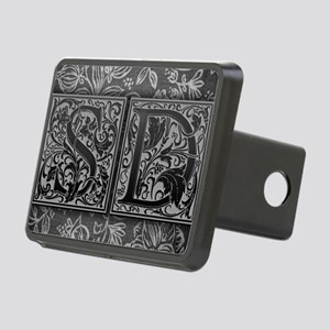 SD initials. Vintage, Flor Rectangular Hitch Cover