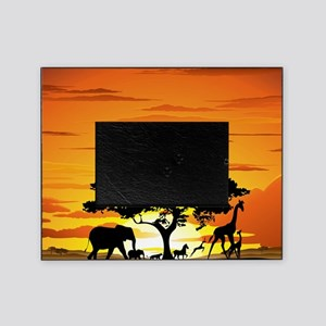 Wild Animals on African Savannah Sun Picture Frame