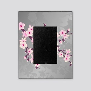 Cherry Blossoms Pink Gray Shimmering Picture Frame