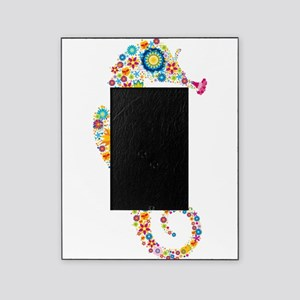 Cute Colorful Retro Floral Sea Horse Picture Frame