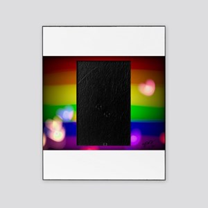 Hearts gay rainbow art Picture Frame