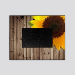 rustic barn yellow sunflower Picture Frame
