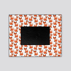 Hipster foxes cute fox pattern woodl Picture Frame