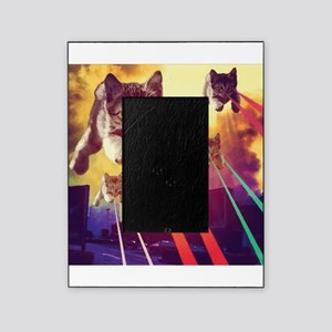 Laser Eyes Space Cats Flying T-Shirt Picture Frame