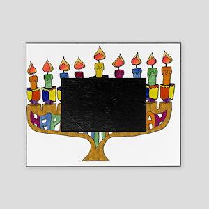 Happy Hanukkah Dreidel Menorah Picture Frame