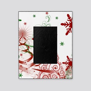 Abstract Green and Red Christmas Tre Picture Frame