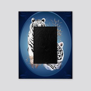 Two White Tigers Oval LargePoster Picture Frame