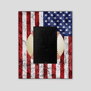 Baseball Ball On American Flag Picture Frame