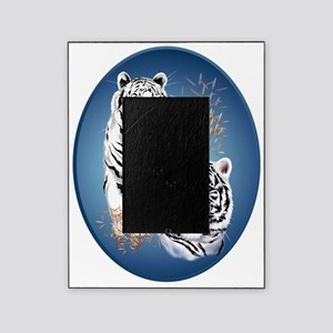 Two White Tigers Oval Trans Picture Frame