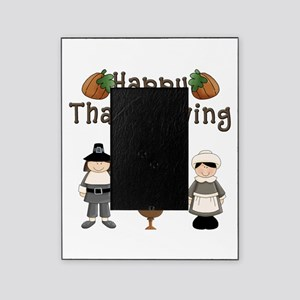 Happy Thanksgiving Pilgrims and Turkey Picture Fra