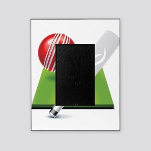 Cricket pitch bat ball Picture Frame