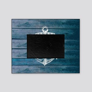 Anchor on Blue faux wood graphic Picture Frame
