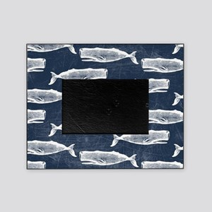 Vintage Whale Pattern White Picture Frame