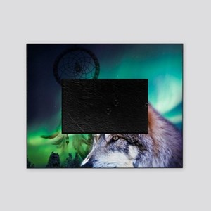 dream catcher northern light wolf Picture Frame