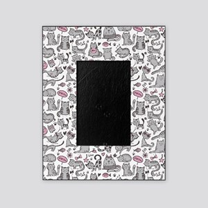 Whimsical Cartoon Cat Pattern Picture Frame