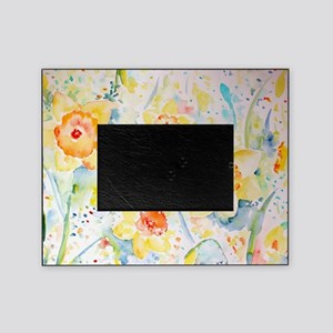 Watercolor yellow flowers daffodils  Picture Frame