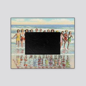 Vintage Women Running Beach Seashore Picture Frame